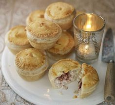 Mini turkey & cranberry pies, in the over now! Thinking these would be great with chicken, brie and cranberry sauce too.
