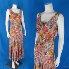 Vintage 1928-1932 Silk Floral Print Dress Dropped Waist Full Circle Skirt Medium  http://stores.ebay.com/mmmosts-Old-time-Stuff-and-Threads