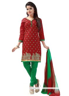 Embroidered Cotton   Churidar Designer Suit In Red Model: YOS6662