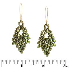 PDF - Glistening Oak Earrings free from Fusion Beads with superduos.  #Seed #Bead #Tutorials