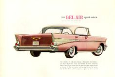 A free gallery of old car brochures from 1903 to Chevrolet Bel Air, Chevrolet Auto, 1957 Chevy Bel Air, Automobile, Sports Models, Sports Sedan, Car Advertising, Classic Cars, Classic Auto