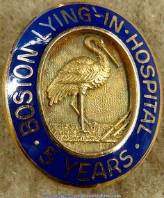 Old Gold Filled Boston Lying In Hospital Nurse 5 Year Service Award Pin