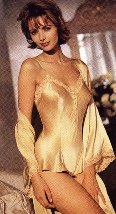 shiny silk top and robe....nice lingerie