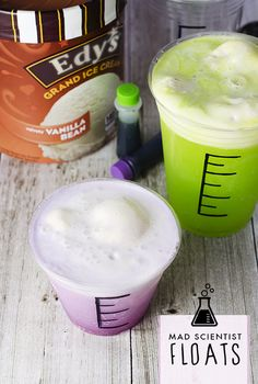 Mad Scientist Float: Help your kids turn ordinary Edy's ice cream floats into fun, DIY Halloween treats with this easy and simple family-friendly dessert recipe. Grab a marker and transform plastic cups into beakers, fill with whatever brightly colored soda you choose (you can even add food coloring, too), top with a scoop of vanilla and watch them start foaming!
