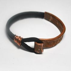Leather and Copper Bracelet/Cuff …