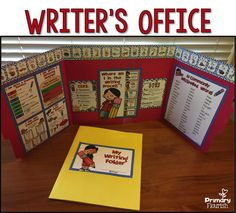 This Writer's Office Kit provides the privacy most writers need in order focus on their writing and not be distracted by what is happing around them.  The office also contains visual tools that will aid students move through the writing process with increasing independence.  A Writer's Folder is also included to help those little writers stay organized!