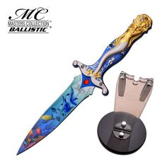 Masters Collection Fixed Blade Knife. 12 Inch Overall Length. 6.5 Inch Stainless Steel Thermal Transfer Blade. Mermaid Design Triple Anodized Aluminum Handle
