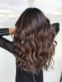 Balayage on dark hair, hair goals, caramel highlights