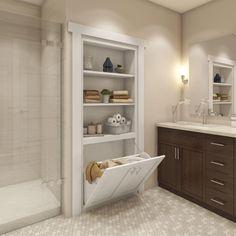 Laundry Doors, Laundry Hamper, Bathroom Renos, Small Bathroom Renovations, Bathroom Closet, Bathroom Cabinetry, Bathroom Remodel Small, Bathroom Remodeling, Upstairs Bathrooms