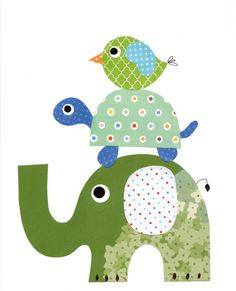 Elephants Bird Nursery Artwork Print Baby Room Decoration Kids Room Decoration // Gifts Under 20 // Little Boys Room wall art on Etsy, $14.00