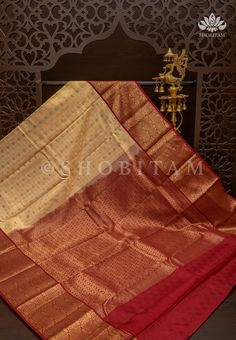 Pure Kanjivaram Silk Saree in Cream with two side wide Borders in Red – Shobitam Silk Sarees, Kanjivaram Sarees, Red Saree, Red Silk, Ready To Wear, Color Combinations, Pure Products, Cream, Tassels