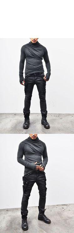 Tops :: Tees :: Black Ready)Avant-garde Bandage Armwarmer Turtle-Knit 32 - Mens…