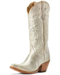 Great for Ariat 10029662 Women's Gold Brushed Platinum 14 Snip Toe Leather Cowgirl Boot Women Boots from top store Wedding Cowboy Boots, Cowboy Boots Women, Cowgirl Boots, Western Boots, Western Wear, Rain Boots, Shoe Boots, Women's Boots, Hiking Boots