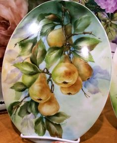 Jane Wright--This looks like Andrew Orr's design. Fruit Painting, China Painting, Ceramic Painting, Ceramic Art, Painting On Wood, Pictures To Paint, Art Pictures, Pyrus, Pressed Flower Art