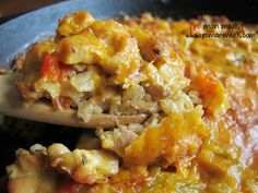 cheesy chicken, rice and peppers skillet