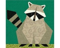 Charley Harper in cross Stitch | adorable raccoon paper piecing pattern from bcheri on etsy