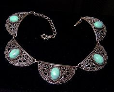 Vintage faux Turquoise Necklace by VintageTreasures4U on Etsy