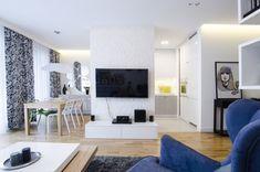 Biel i szarość przełamana niebieskimi i zielonymi akcentami - PLN Design Scandinavian Style, Teak, Flat Screen, Interior Design, Room, Inspiration, Furniture, Home Decor, Apartments