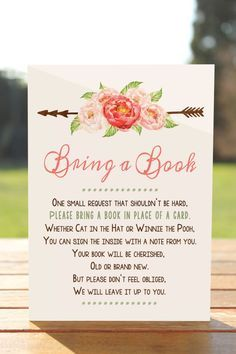 Bring a book instead of a card, Bring a book baby shower insert, Bring a book baby shower, Bring a b - Baby-Dusche-Ideen - Idee Baby Shower, Bebe Shower, Baby Boy Shower, Baby Shower Gifts, Baby Shower Books, Girl Baby Showers, Baby Books, Rustic Baby Showers, Library Baby Shower Theme