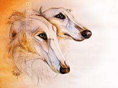 Barzois / Borzois borzoi art dogart petportrait of a borzoi russian sighthound by Tanja Kooymans