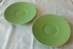 El Patio Saucers Made by Franciscan Gladding Mcbean Set of Two in Apple Green
