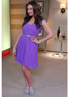 Purple Dress from Alice&Olivia and Gold Belt from Club Monaco