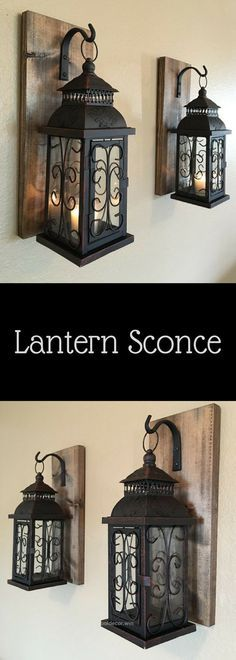 Lovely Lantern pair wall decor, wall sconces, bathroom decor, home and living, wrought iron hook, rustic wood boards, bedroom decor, rustic home décor, diy, country, living room, farmhouse, on ..