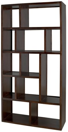 """Biblioteca Bookcase $699.00 This cross between a bookcase and a display case will allow anyone to get creative.  35.5""""L x 14"""" D x 71""""H Solid Indian mango wood Walnut finish"""