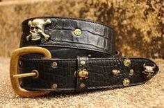 black  croco print leather belt  with unique silver by KRISHODA, €80.00