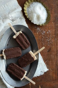 Chocolate-Covered Toasted Coconut Pops {Popsicle Week}