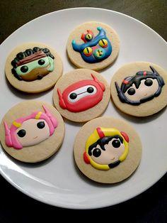 big hero 6 cookies - baymax, hiro, go-go, honey lemon, wasabi and fred