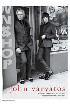 """John Varvartos used the """"Modfather"""" of British Rock Paul Weller and Danny Kane for his 2012 Ad campaign. Don't miss the new collection from John Varvatos tonight on Men's Fashion Insider on OUTtv. 1960s Fashion Mens, Mod Fashion, John Varvatos, The Style Council, Mod Look, Paul Weller, Le Concert, Charming Man, My Life Style"""