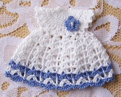 Dollhouse Miniature 1:12 Scale Heidi Ott Toddler Dress White & Periwinkle Blue