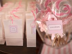 Pretty goodie bags and homemade lollipops.