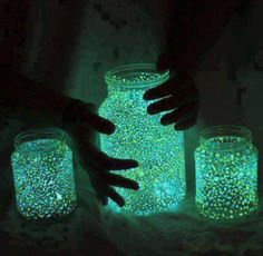 put dots  on a jar with fluorescent paint