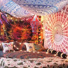Inspire you bedroom decor with hippie boho inspired Tapestry. A hippie boho ethnic tapestry with mandala, elephant, tree Hippie Bedroom Decor, Hippy Bedroom, Hippie Home Decor, Boho Room, Home Decor Bedroom, Boho Decor, Vintage Hippie Bedroom, Tapestry Online, Boho Tapestry