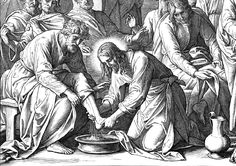 19 Schnorr Foot Washing Book Title: Die Bibel in Bildern Author: Schnorr von Carolsfeld, Julius, 1794-1872 Image Title: Foot Washing Scripture Reference: John 13 Description: Julius Schnorr von Carolsfeld's (1794-1872) depiction of Jesus washing his disciples feet; Judas Iscariot is depicted in the back without a halo.