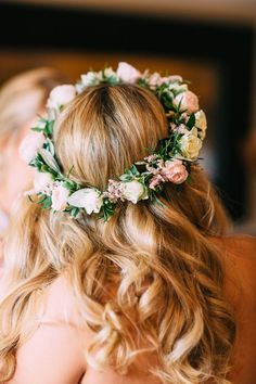 Blush Wedding at Almonry Barn Somerset with Mori Lee Bridal Gown - Wedding Crown Flower Headband Wedding, Floral Crown Wedding, Flower Crown Hairstyle, Pink Wedding Dresses, Flower Girl Hairstyles, Floral Headbands, Crown Hairstyles, Bridal Flowers, Flowers In Hair