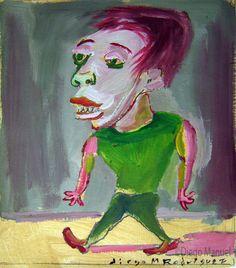 """""""El pibe del gimnasio"""", gouache on canvas, 24x 18 cm., year 1998"""
