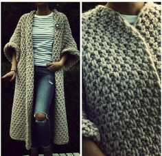 Crochet Patterns Cardigan Thick yarn is gaining popularity. Crochet Coat, Crochet Jacket, Knitted Coat, Crochet Cardigan, Crochet Clothes, Long Cardigan, Crochet Winter, Cardigan Pattern, Easy Crochet