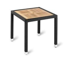 """Ebony Wicker and Teak Square Table - Aluminium leg with ebony resin weave and solid slatted teak top. Also available with a black """"no wood"""" top. square and sizes available. Outdoor Cafe, Outdoor Restaurant, Restaurant Tables, Outdoor Tables, Outdoor Dining, Dining Table, Outdoor Decor, Aluminum Table"""