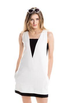 Biało-czarna geometryczna mini. White & black mini dress.