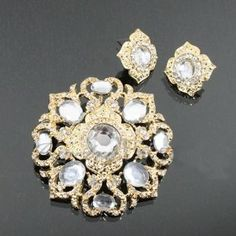 Crystal Studded Fashion Brooch & Earrings Set Dgp4254-bc204 Arif's Collection. $25.85. pins and brooches