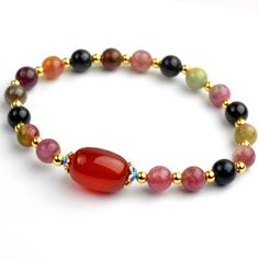 6mm Fine  Natural Stone Beads Bracelets Tourmaline Crystal Beaded Bracelets for women pulseira elastic bijoux with certificate
