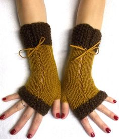 Knit Fingerless Gloves Wrist Warmers Brown Corset  by LaimaShop