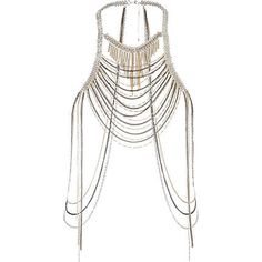 silver mixed chain body harness - necklaces / collars - jewellery - women - River Island