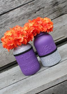 SUPER SALE - Pair of Glittery Purple Mason Jars - Halloween Decor - Halloween Jars - Purple Wedding - Glitter Decor - Plum Purple - Fall on Etsy, $15.50