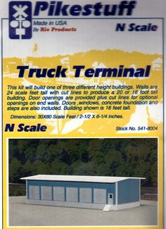 Truck Terminal 30 X 80 Item 8004 N scale  Blu/wht  (Kit) Made In The U.S.A. #RixProducts