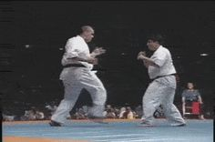 Two karateka throwing Ura-Mawashi-Geri (Spinning Hook Kick) simultaneously, with one landing for a knockout. In the slow-mo, the bald fighter seemed to have thrown it at a shallower angle (almost like...