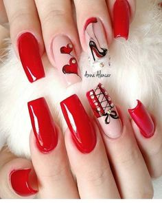 simple and cute natural acrylic coffin nails design - Page 102 of 150 - Inspiration Diary Red Nail Art, Red Acrylic Nails, Red Nails, Brown Nails, Rockabilly Nails, Corset Nails, Cute Nails, Pretty Nails, Valentine Nail Art